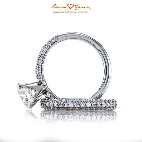 Brian Gavin knows how to line up the diamonds. Ideal cut diamond melee placed in a 3 row pave style with matching band.