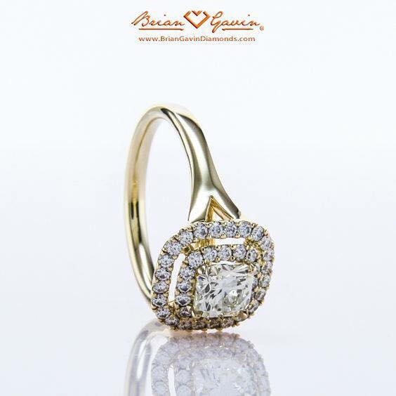 Brian Gavin with a yellow gold, double halo, split prongs design. Made perfectly to fit the exact diamond proportions.